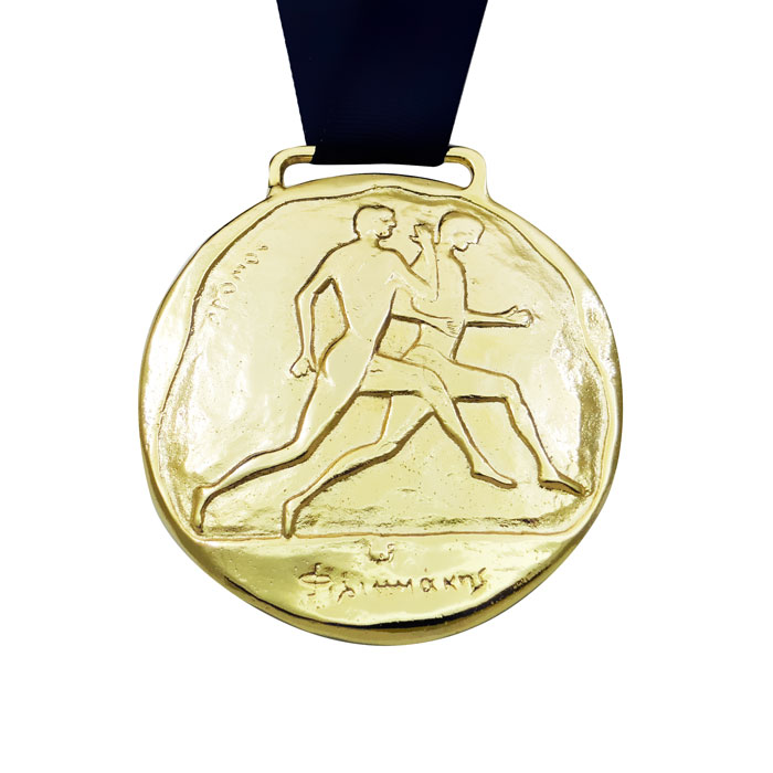 Museum Masters: Stadion Race, Olympic Games Medal, Gold-plated 24 K with dark blue ribbon