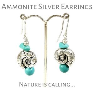 Ammonite silver earrings on muma.gr