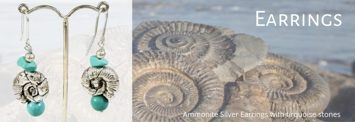 Ammonite silver earrings with tirquoise stones on museummasters.gr