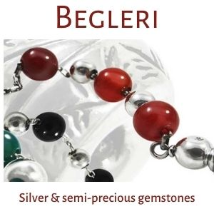 Begleri, String of beads, Silver & semi-precious gemstones