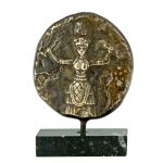 Goddess with Snakes, Brass relief plaque with patina, mounted on greek black marble base with white and grey waters.
