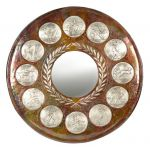 Olympic Sports Mirror, Copper with natural oxidation of the metal and local silverplating of the sports.
