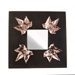 Ivy Leaves, Wooden Mirror with four ivy leaves, in shiny copper.