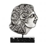 Alexander the Great, Silver-plated 999° Brass Relief, mounted on a marble base.