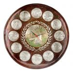 Olympic Games Clock, Copper with partial silver-plating of the featured sports.