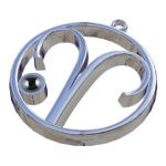 Aries Zodiac Sign with Hematite Stone, Pendant in silver 925°.