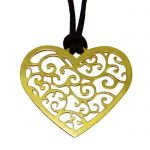 "Heart ""Love"", Pendant, Gold-plated 24K Silver, hanging on a black cord."