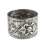 Napkin Ring with Roses and floral decoration in silver 999°.