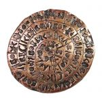 Phaistos Disc, Copper Trivet, copy of the phaistos disc with engraved symbols.