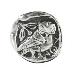 Owl, Silver-plated Brass Paper Weight, with depiction of the owl from the obverse side of the tetradrachm of Athens.