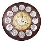 Zodiac Clock with Windrose - 75, Copper with partial silver-plating and brass-plating.