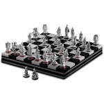The Chess of the 1821 Greek Revolution, Alabaster chessboard with pawns, made of pewter.