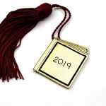 Book Year 2019 Charm, handmade solid brass with tassel