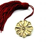 Rosette Charm 2019, Kamares, Crete, handmade solid brass with tassel and gift packaging