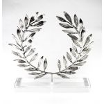 Olive Wreath, Silver-plated 999° Brass, mounted on an acrylic base (plexi-glass).
