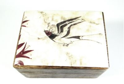Swallow wooden box, detail from fresco in Santorini island in Greece