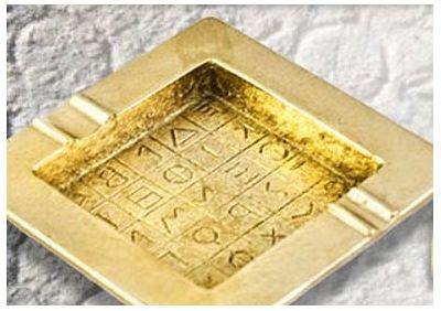 Greek Alphabetic Script Ashtray, Handmade casted brass