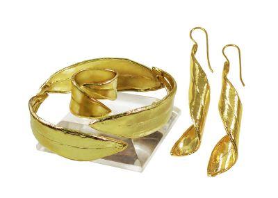 Olive Leaf Set, 24K Gold-plated Brass