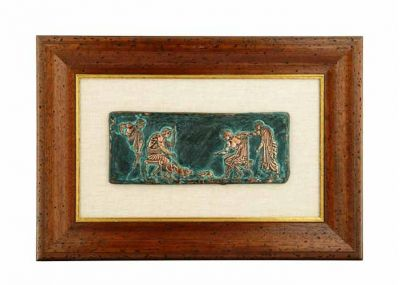 Cat and Dog Fight, Ancient Greece, Copper relief plaque with natural oxidation on linen passpartou, mounted on wooden frame.