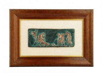 Αγώνες Γάτας - Σκύλου, Αρχαία Ελλάδα, Χαλκός με φυσική οξείδωση πάνω σε λινό πασπαρτού, τοποθετημένος σε παλαιωμένη ξύλινη κορνίζα.