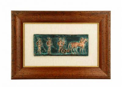 Warriors in a Chariot Race, Copper relief representation with natural oxidation on linen paspartou with wooden aged frame.