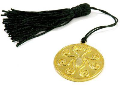 Χταπόδι Μυκηναϊκό με σπείρες, χρυσό κόσμημα κεφαλής, Γούρι 2018, χειροποίητος μασίφ ορείχαλκος