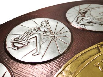 Zodiac Clock with Windrose - 47, Copper with partial silver-plating and brass-plating.