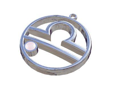 Libra Zodiac Sign with Pink Quartz Stone, Pendant in silver 925°.
