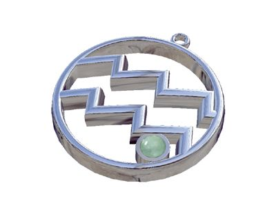 Aquarius Zodiac Sign with Aquamarine  Stone, Pendant in silver 925°.