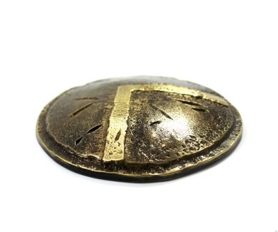 Shield of Lacedaemon, Paper Weight, handmade brass with patina