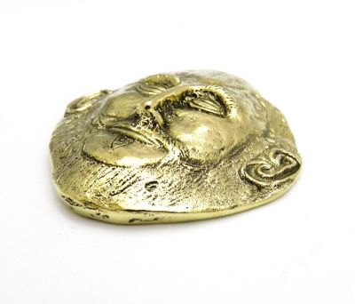 Agamemnon Mask, Paper Weight, handmade solid brass.