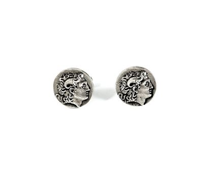 Alexander the Great, Handmade Cufflinks, Solid Silver 925°.