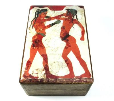 The Boxers fresco in the island of Santorini. Depiciton of a wooden box