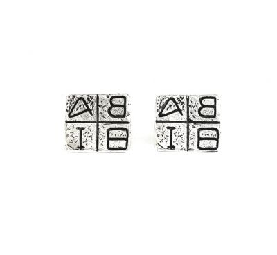 Greek Alphabetic Script, silver cufflinks, handmade casted 925°