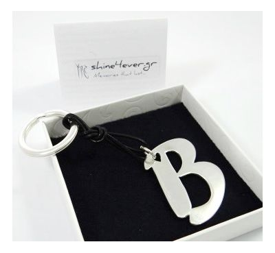 My initials, letter in solid silver as a key-ring or pendant