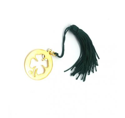 Clover gold-plated brass charm with tassel