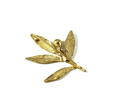 Olive Branch Brooch, handmade, leaves in silver 999° and the olive solid silver 925°, gold-plated 24K