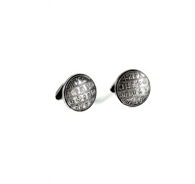 Ancient Script Cufflinks, silver casted handmade