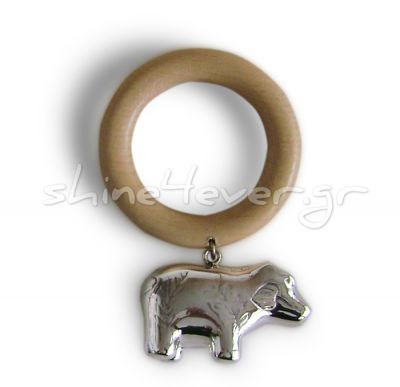 Hippopotamus figurine, Silver 999° Baby Rattle on a wooden ring