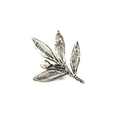 Olive Branch Brooch, handmade, leaves in silver 999° and the olive solid silver 925°