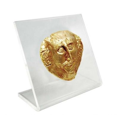 The Mask of King Agamemnon, 24K Gold-plated Copper mounted on an acrylic stand.