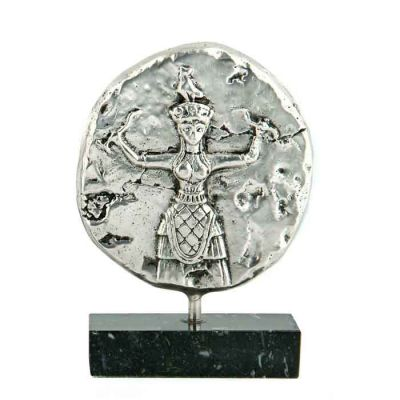 Godess with Snakes, Knossos, Brass relief plaque, plated in silver solution 999°, mounted on greek black marble base with white and gray waters.