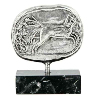 Chariot Race, Olympic Games, Ancient Olympia, Silver-plated brass, mounted on a greek black marble base, with white and grey waters.