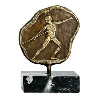 Javelin Throw, Olympic Games, Plaque made of  brass with natural oxidation, placed on a base of greek black marble.