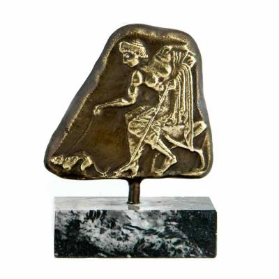Dog Fighting, Brass Plaque with patina, mounted on a greek black marble base, with white and grey waters.