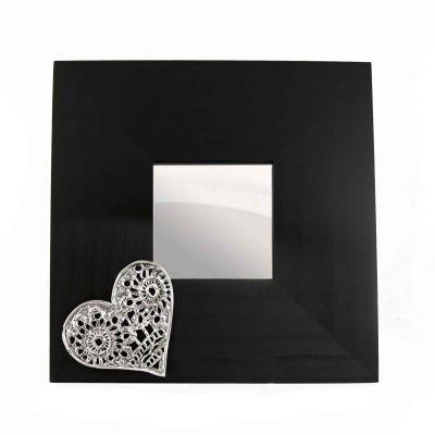 Heart, Mirror, Silver-plated Brass on wooden black mirror.