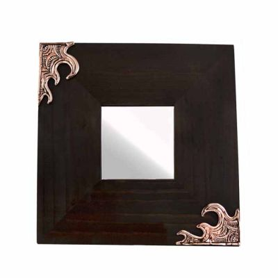 Waves II, Wooden Mirror with two waves, in shiny opper.