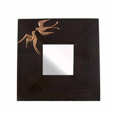 """Swallows, Santorini, Wooden Mirror with copper relief representation of doves from the wall-painting """"Spring""""."""