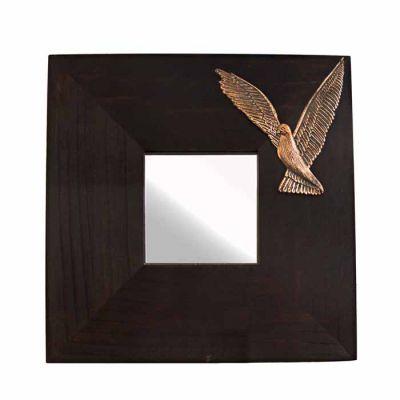 Dove, Mirror, Copper relief representation, mounted on a wooden mirror.