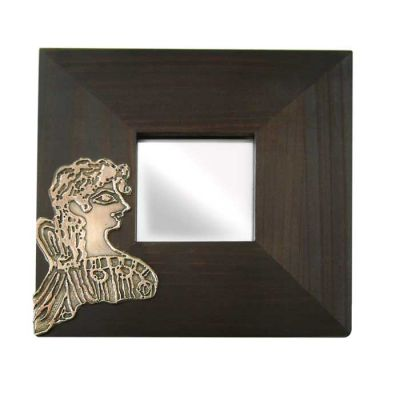 Parisienne, Wooden Mirror with copper relief representation of the famous fresco.